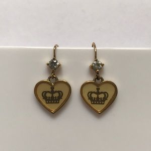Juicy Couture Dangle Gold Tone Crown Earrings